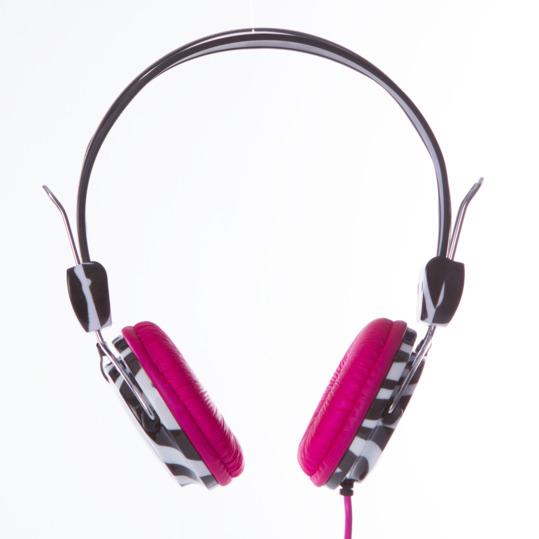 Auriculares SILVER Cebra Fucsia