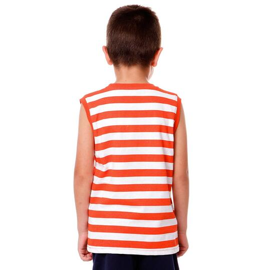 Camiseta Moda UP Rayas Rojo Niño (2-8)