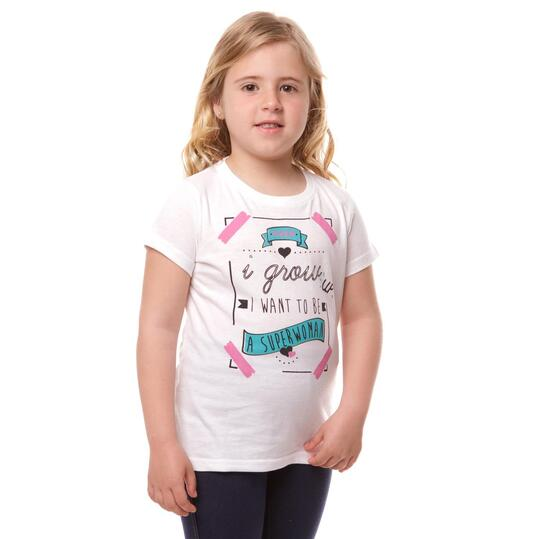 Camiseta UP Stamps Blanco Niña (2-8)