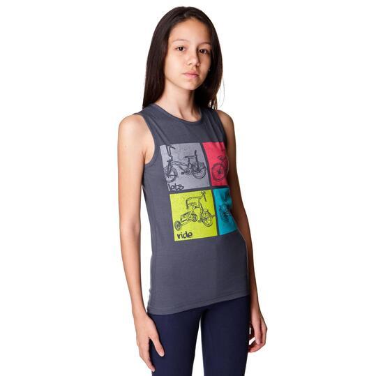 Camiseta UP Stamps Gris Niña