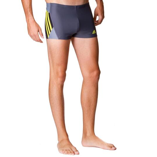 Bañador boxer natación hombre ADIDAS Gris Amarillo