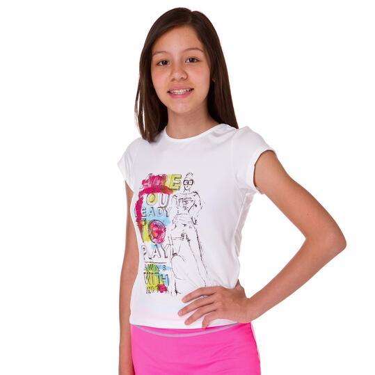 Camiseta Manga Corta Tenis PRoToN Blanco Niña (10-16)