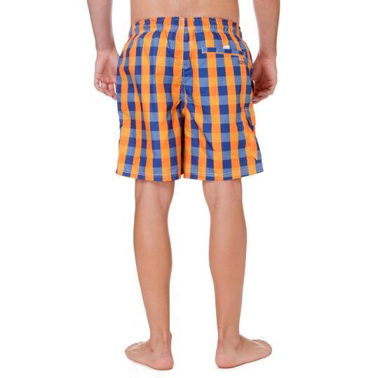 Bañador corto hombre SILVER Cuadritos Naranja  Azul