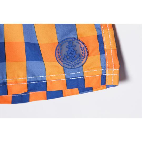 Bañador Corto Niño SILVER Cuadritos Naranja  Azul