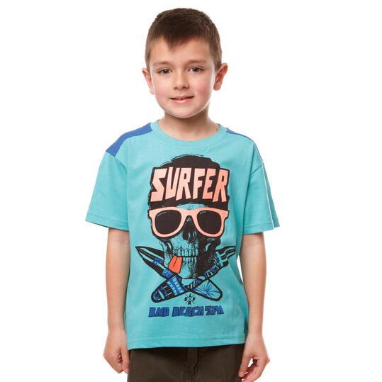 Camiseta Moda SILVER Turquesa Tabla Surf Turquesa Niño (2-8)