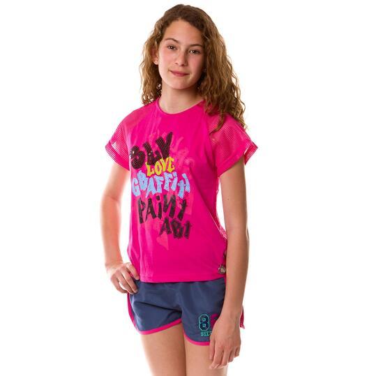 Camiseta Moda SILVER Graffiti Fucsia Niña