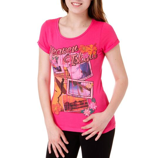 Camiseta Moda TRUNK & RooTS Camera Fucsia Mujer