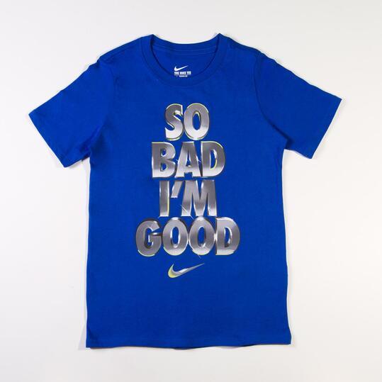 NIKE YTH Camiseta Manga Corta Azul Negro Niño (10-16)