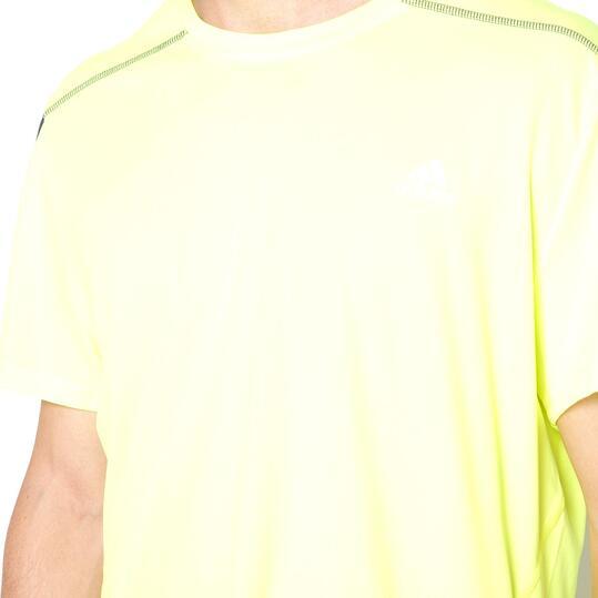 ADIDAS Camiseta Manga Corta Running ADIDAS Amarillo flúor Hombre