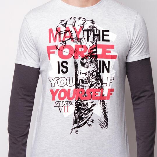 SILVER Camiseta Manga Larga Gris Hombre Hombre