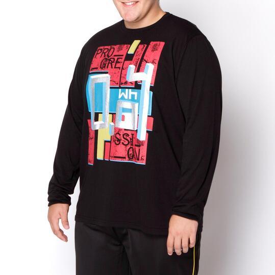 Camiseta Talla Grande SILVER Negro Hombre