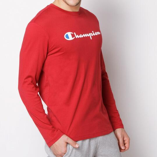 CHAMPION CONTEMPORARY Camiseta Manga Larga Burdeos Hombre