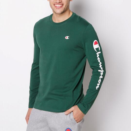 CHAMPION CONTEMPORARY Camiseta Manga Larga Verde Hombre