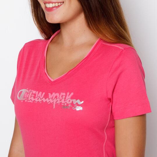 CHAMPION Camiseta Manga Corta Rojo Mujer