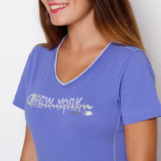 CHAMPION Camiseta Manga Corta Azul Mujer