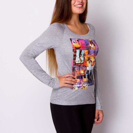 TRUNK & ROOTS AGUACATE Camiseta Manga Larga Gris Mujer