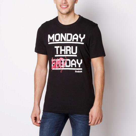 REEBOK EVERYDAY Camiseta Manga Corta Negra Hombre