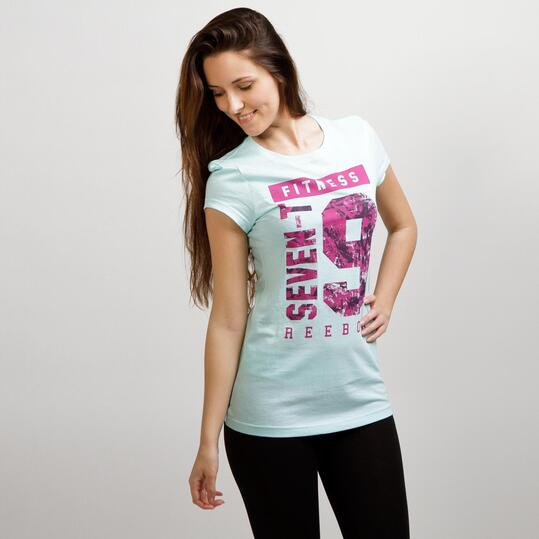 REEBOK FITNESS Camiseta Manga Corta Celeste Mujer