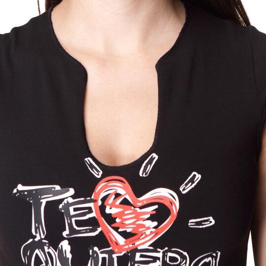 T&R Camiseta Manga Corta Negro Mujer