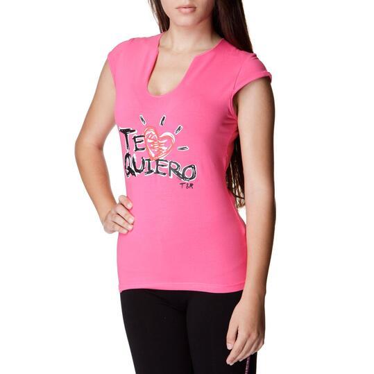 T&R Camiseta Manga Corta Fucsia Mujer