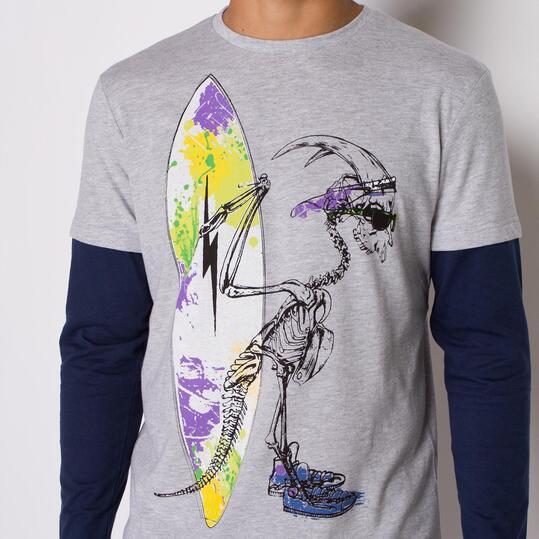 Camiseta Manga Larga SILVER STAMPS Gris Hombre