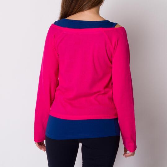 Camiseta Casual SILVER BRUSHTROKE Fucsia Azul Mujer