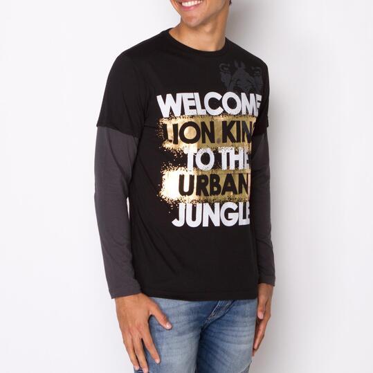 Camiseta Manga Larga SILVER JUNGLE Negro Gris Hombre