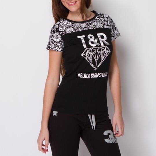 Camiseta Manga Corta TRUNK&ROOTS Negra Blanca Mujer