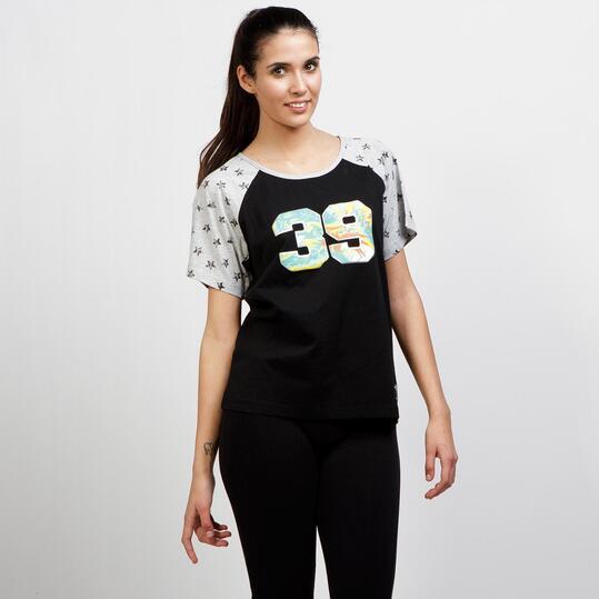 Camiseta Manga Corta TRUNK&ROOTS Negra Mujer