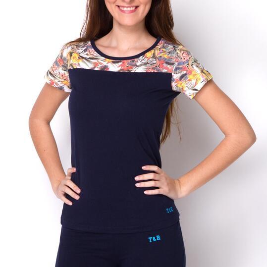 Camiseta Manga Corta TRUNK&ROOTS Marino Estampada Mujer