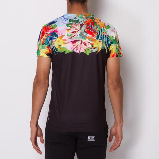Camiseta Manga Corta Estampada TRUNK&ROOTS Negra Hombre