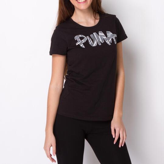 PUMA FUN FONT TEE Camiseta Manga Corta Negra