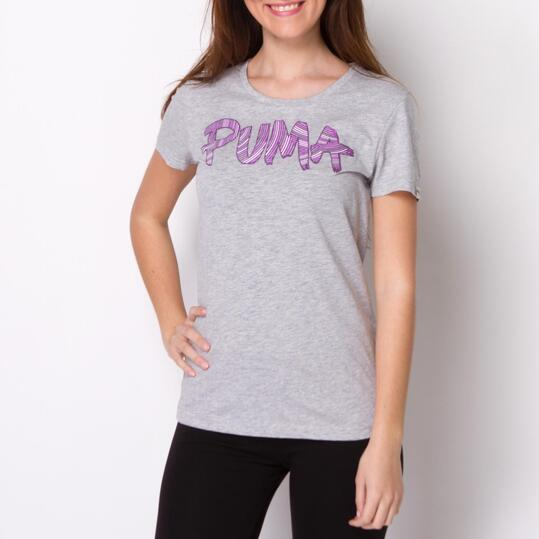 PUMA FUN FONT TEE Camiseta Manga Corta Gris
