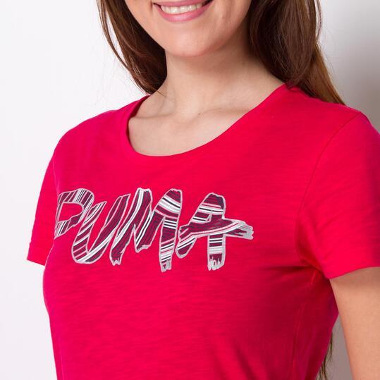 PUMA FUN FONT TEE Camiseta Manga Corta Roja