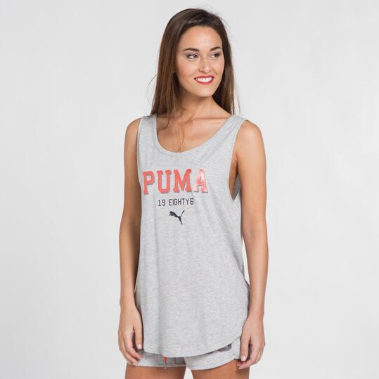 PUMA TANK Camiseta Tirantes Gris Mujer