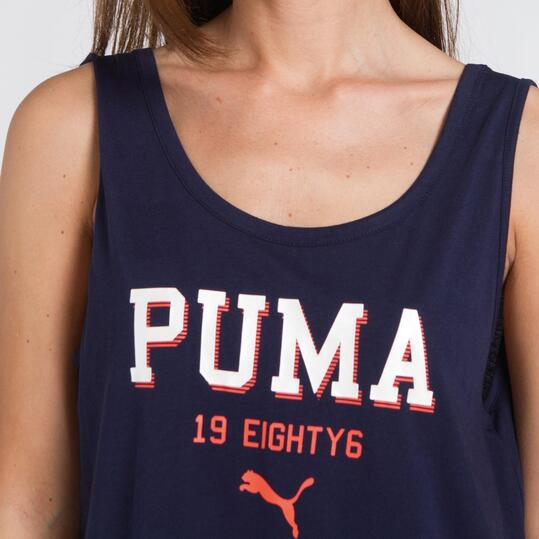 PUMA TANK Camiseta Tirantes Marino Mujer