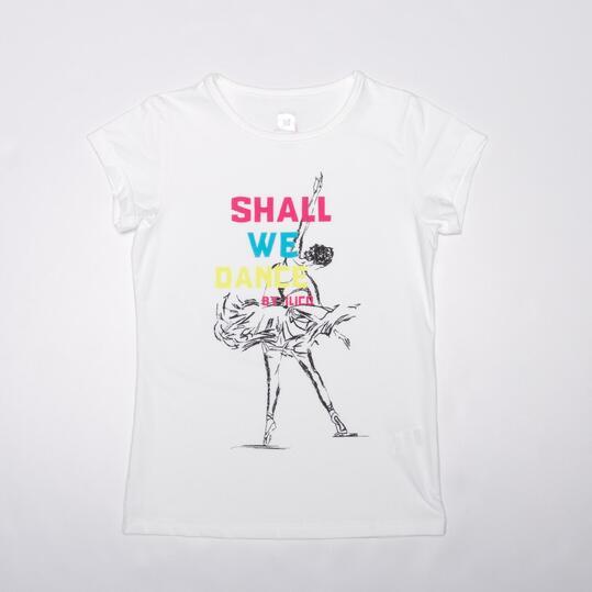 Camiseta Manga Corta ILICO DANZA Blanca Niña