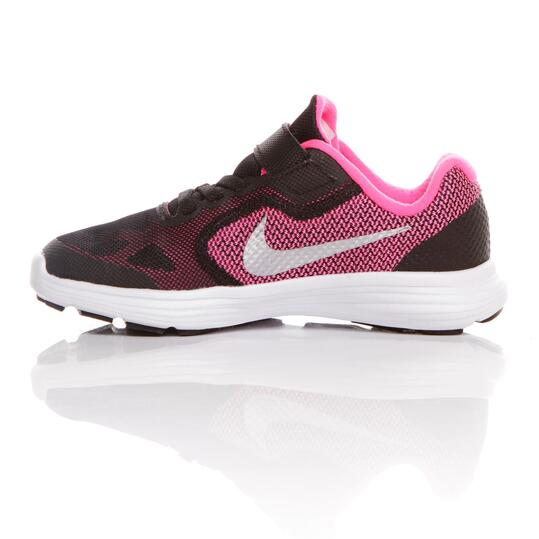 NIKE REVOLUNTION 3 Zapatillas Running Negro Fucsia Niña (36-38,5)
