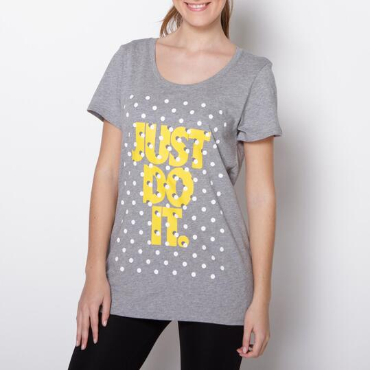 NIKE SHADOW Camiseta Casual Gris Mujer