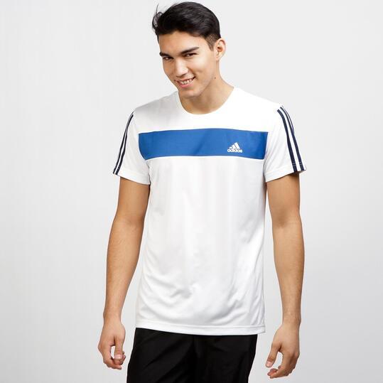 ADIDAS Camiseta Deportiva Blanco Azul Hombre