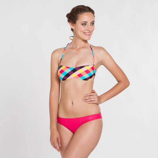Top Bikini Bandeau UP STAMPS Cuadros Multicolor