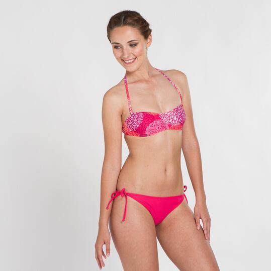 Top Bikini Bandeau UP STAMPS Estampado Fucsia