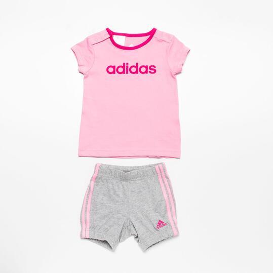 ADIDAS ESS Conjunto Camiseta Pantalón Niña Rosa Gris (12-36m)