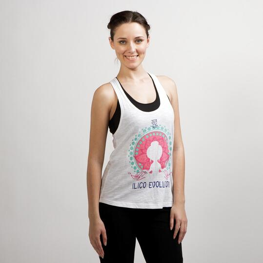 Camiseta Yoga Tirantes ILICO ZEN Blanco Mujer
