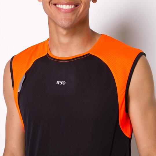 Camiseta Running Sin Mangas IPSO COMBI Negro Naranja Hombre