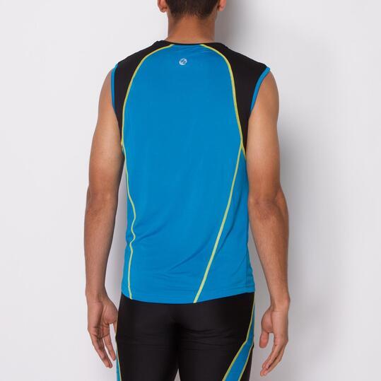 Camiseta Running Sin Mangas IPSO COMBI Azul Negro Hombre