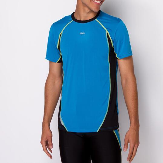 Camiseta Running IPSO COMBI Azul Negro Hombre