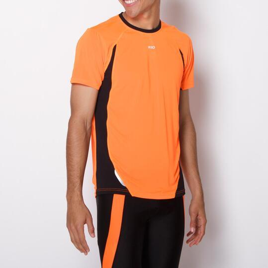 Camiseta Running IPSO COMBI Naranja Negro Hombre