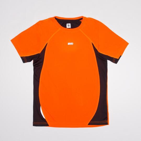 Camiseta Running Manga Corta IPSO Naranja Flúor Niño