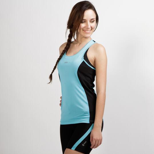 Camiseta Tirantes Running IPSO COMBI Celeste Mujer